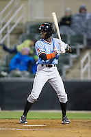 Eric Jenkins (5) of the Hickory Crawdads at bat against the Kannapolis Intimidators at Kannapolis Intimidators Stadium on April 9, 2016 in Kannapolis, North Carolina.  The Crawdads defeated the Intimidators 6-1 in 10 innings.  (Brian Westerholt/Four Seam Images)