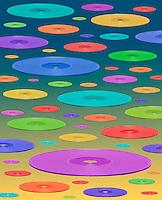 Digital illustration: multi-colored CDs flying.