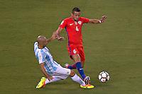Action photo during the match Argentina vs Chile corresponding to the Final of America Cup Centenary 2016, at MetLife Stadium.<br /> <br /> Foto durante al partido Argentina vs Chile cprresponidente a la Final de la Copa America Centenario USA 2016 en el Estadio MetLife , en la foto:(i-d) Javier Mascherano de Argentina y Mauricio Isla de Chile<br /> <br /> <br /> 26/06/2016/MEXSPORT/JAVIER RAMIREZ