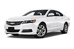 Stock pictures of low aggressive front three quarter view of a 2018 Chevrolet Impala 1LT 4 Door Sedan