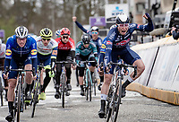 Jasper Philipsen (BEL/Alpecin-Fenix) wins the bunchsprint into Schoten ahead of Sam Bennett (IRE/Deceuninck - Quick Step) & Mark Cavendish (GBR/Deceuninck - Quick Step)<br />