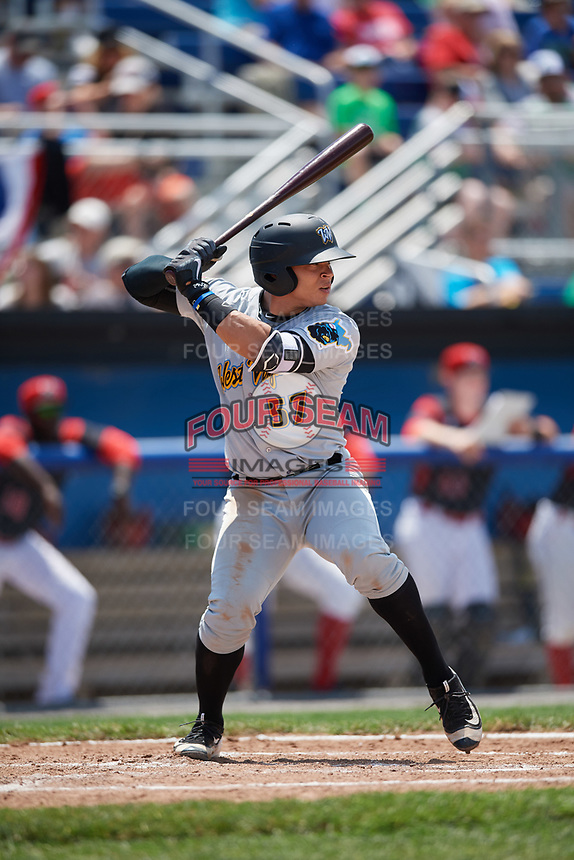 West Virginia Black Bears designated hitter Deon Stafford (57) at bat during a game against the Batavia Muckdogs on June 25, 2017 at Dwyer Stadium in Batavia, New York.  West Virginia defeated Batavia 6-4 in the completion of the game started on June 24th.  (Mike Janes/Four Seam Images)