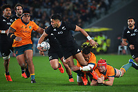 NZ's Rieko Ioane is tackled during the Bledisloe Cup rugby match between the New Zealand All Blacks and Australia Wallabies at Eden Park in Auckland, New Zealand on Saturday, 7 August 2021. Photo: Dave Lintott / lintottphoto.co.nz