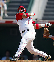 Bengie Molina of the Los Angeles Angels bats during a 2002 MLB season game at Angel Stadium, in Anaheim, California. (Larry Goren/Four Seam Images)