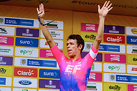 MEDELLIN - COLOMBIA, 12-02-2019: Rigoberto Uran (COL) Team EF Education First - DRAPAC celebra como líder de la clasificación general después de la primera etapa, contrarreloj por equipos de 14 Km, como parte del Tour Colombia 2.1 2019 que se disputó por las calles de la ciudad de Medellín . / Rigoberto Uran (COL) Team EF Education First - DRAPAC celebrates the leadership after the first stage, time trial by teams of 14 km, as part of Tour Colombia 2.1 2019 that ran through the streets of Medellin. Photo: VizzorImage / Anderson Bonilla / Cont
