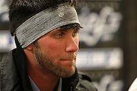 Syracuse Chiefs center fielder Bryce Harper #34 gives a post game interview after the opening game of the International League season against the Rochester Red Wings at Alliance Bank Stadium on April 5, 2012 in Syracuse, New York.  (Mike Janes/Four Seam Images)