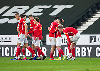 7th November 2020; Pride Park, Derby, East Midlands; English Football League Championship Football, Derby County versus Barnsley; Conor Chaplin of Barnsley as celebrates with the team after scoring for 0-1 in the 30th minute