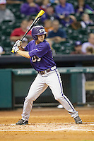 TCU Horned Frogs second baseman Garrett Crain #34 at bat during the NCAA baseball game against the Rice Owls on March 1, 2014 during the Houston College Classic at Minute Maid Park in Houston, Texas. Rice defeated TCU 1-0. (Andrew Woolley/Four Seam Images)