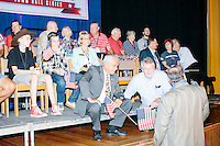 People gather before Texas senator and Republican presidential candidate Ted Cruz speaks at a town hall put on by the Concerned Veterans for American at Milford Town Hall in Milford, New Hampshire.