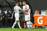 CLEVELAND, OHIO - JUNE 22: Tyler Boyd, Jordan Morris during a 2019 CONCACAF Gold Cup group D match between the United States and Trinidad & Tobago at FirstEnergy Stadium on June 22, 2019 in Cleveland, Ohio.