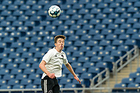 FOXBOROUGH, UNITED STATES - MAY 28: Harvey Neville #6 of Fort Lauderdale CF heads the ball during a game between Fort Lauderdale CF and New England Revolution II at Gillette Stadium on May 28, 2021 in Foxborough, Massachusetts.