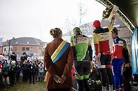 podium girls: Sanne Cant (BEL/BKCP-Powerplus), Pauline Ferrand-Prevot (FRA/Rabobank-Liv) & Sophie de Boer (NLD/Kalas-NNOF)<br /> <br /> Druivencross Overijse 2014