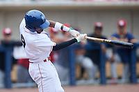Caberea Weaver (9) of the Kannapolis Cannon Ballers at bat against the Carolina Mudcats at Atrium Health Ballpark on June 13, 2021 in Kannapolis, North Carolina. (Brian Westerholt/Four Seam Images)