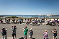 Peloton riding along the coast. <br /> <br /> Stage 5: Lorient > Quimper (203km)<br /> <br /> 105th Tour de France 2018<br /> ©kramon