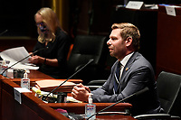 United States Representative Eric Swalwell (Democrat of California), right, speaks during a House Judiciary Committee hearing on Capitol Hill in Washington, Wednesday, June 24, 2020, on oversight of the Justice Department and a probe into the politicization of the department under Attorney General William Barr. <br /> Credit: Susan Walsh / Pool via CNP/AdMedia