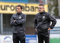 headcoach Raymond Loose (R) and assistant coach Arthur Naudts (L)of Eendracht Aalst pictured during a female soccer game between Eendracht Aalst and Sporting Charleroi on the fifth matchday of the 2021 - 2022 season of Belgian Scooore Womens Super League , Saturday 2 October 2021  in Aalst , Belgium . PHOTO SPORTPIX    KRISTOF DE MOOR