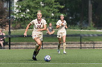 NEWTON, MA - SEPTEMBER 12: Ella Richards #22 of Boston College brings the ball forward during a game between Holy Cross and Boston College at Newton Campus Soccer Field on September 12, 2021 in Newton, Massachusetts.