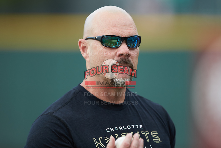 Charlotte Hornets conditioning coach Shawn Powell prior to the game against the Louisville Bats at BB&T BallPark on June 22, 2019 in Charlotte, North Carolina. The Hornets defeated the Bats 7-6. (Brian Westerholt/Four Seam Images)