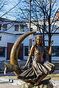 Bewitched TV Land Statue in Salem, Massachusetts during the winter months.