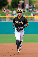 Indianapolis Indians outfielder Christopher Bostick (7) jogs to the dugout between innings during an International League game against the Buffalo Bisons on July 28, 2018 at Victory Field in Indianapolis, Indiana. Indianapolis defeated Buffalo 6-4. (Brad Krause/Four Seam Images)