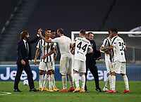 Calcio, Serie A: Juventus - Sampdoria, Turin, Allianz Stadium, September 20, 2020.<br /> Juventus' coach Andrea Pirlo (l) celebrates with his players after winning 3-0 the Italian Serie A football match between Juventus and Sampdoria at the Allianz stadium in Turin, September 20,, 2020.<br /> UPDATE IMAGES PRESS/Isabella Bonotto