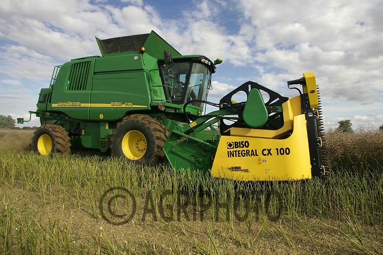 Combine Harvester Cutting Oil Seed Rape