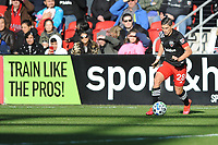 WASHINGTON, DC - MARCH 07: Joseph Mora #28 of D.C. United moves the ball during a game between Inter Miami CF and D.C. United at Audi Field on March 07, 2020 in Washington, DC.