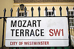 Mozart Terrace London SW1.  Mozart Terrace,  Ebury Street, Mozart lived here in