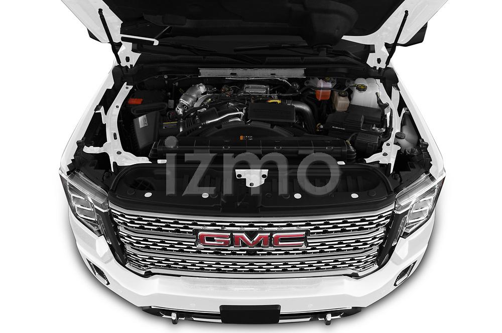 Car Stock 2020 GMC Sierra-3500HD Denali 4 Door Pick-up Engine  high angle detail view