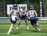 Shiloh Christian football player Kaden Henley (center) seen Wednesday July 14, 2021 at the Southwest Elite 7on7 at Shiloh Christians Champions Stadium, is verbally committed to the University of Arkansas.  (NWA Democrat-Gazette/Spencer Tirey)