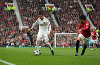 Pictured: (L-R) Pablo Hernandez, Shinji Kagawa.<br /> Sunday 12 May 2013<br /> Re: Barclay's Premier League, Manchester City FC v Swansea City FC at the Old Trafford Stadium, Manchester.