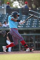 Wilderd Patino (13) of the los Toros de Visalia bats against the Cucuys de San Bernardino at San Manuel Stadium on July 11, 2021 in San Bernardino, California. (Larry Goren/Four Seam Images)