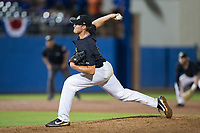 Wake Forest Demon Deacons relief pitcher Colin Peluse (8) delivers a pitch to the plate against the Florida Gators in Game Three of the Gainesville Super Regional of the 2017 College World Series at Alfred McKethan Stadium at Perry Field on June 12, 2017 in Gainesville, Florida.  The Gators defeated the Demon Deacons 3-0 to advance to the College World Series in Omaha, Nebraska.   (Brian Westerholt/Four Seam Images)