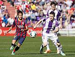 Real Valladolid´s Rukavina (R) and Barcelona´s Neymar Jr during La Liga match at Zorrilla Stadium in VAlladolid, Spain. March 08, 2014. (ALTERPHOTOS/Victor Blanco)