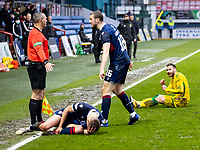 13th March 2021; Global Energy Stadium, Dingwall, Highland, Scotland; Scottish Premiership Football, Ross County versus Hibernian; Martin Boyle of Hibernian slides in to tackle Leo Fuhr Hjelde of Ross County as Ross players get agry with the challenge