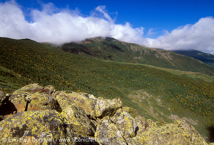 Looking across the Gulf of Slides at Boott Spur from Glen Boulder Trail in the New Hampshire White Mountains.