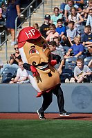 West Virginia Black Bears Julia's Racing Pepperoni Rolls race during a NY-Penn League game against the Batavia Muckdogs on August 29, 2019 at Monongalia County Ballpark in Morgantown, New York.  West Virginia defeated Batavia 5-4 in ten innings.  (Mike Janes/Four Seam Images)