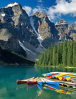 Canoes on Moraine Lake. Banff National Park, Canada