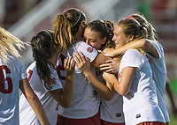 Hawgs Illustrated/BEN GOFF <br /> Madison Louk (from left), Kayla McKeon, Tori Cannata and Stefani Doyle of Arkansas celebrate after a goal by Cannata in the second half vs Texas A&M Thursday, Sept. 20, 2018, at Razorback Field in Fayetteville.