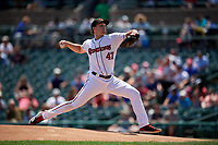 Rochester Red Wings pitcher Kohl Stewart (47) during an International League game against the Scranton/Wilkes-Barre RailRiders on June 25, 2019 at Frontier Field in Rochester, New York.  Rochester defeated Scranton 10-9.  (Mike Janes/Four Seam Images)