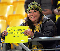 Fans in the grandstand during the Super Rugby semifinal match between the Hurricanes and Chiefs at Westpac Stadium, Wellington, New Zealand on Saturday, 30 July 2016. Photo: Dave Lintott / lintottphoto.co.nz
