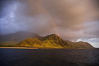Rainbow over Makua Beach and the mountains