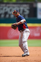 Toledo Mudhens second baseman Alberto Gonzalez (4) throws to first base during a game against the Buffalo Bisons on May 18, 2016 at Coca-Cola Field in Buffalo, New York.  Buffalo defeated Toledo 7-5.  (Mike Janes/Four Seam Images)