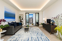 BNPS.co.uk (01202) 558833. <br /> Pic: Savills/BNPS<br /> <br /> Pictured: Hornsey Town Hall show apartment living room. <br /> <br /> Apartments in the grounds of an iconic building where Queen first appeared in concert and the TV series The Crown and Whitechapel were filmed  have gone on sale.<br /> <br /> The new owners will live alongside Hornsey Town Hall, which has appeared in a string of movies and TV programmes including Killing Eve.<br /> <br /> Rock band Queen performed their first concert there in 1971 as a supporting band and part of the 2018 film Bohemian Rhapsody starring Rami Malek was made there.