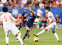 FRISCO, TX - MARCH 11: Christen Press #23 of the United States takes a shot at Japan's goal in the first half during a game between Japan and USWNT at Toyota Stadium on March 11, 2020 in Frisco, Texas.