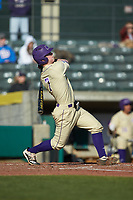 Justice Bigbie (7) of the Western Carolina Catamounts follows through on his swing against the Saint Joseph's Hawks at TicketReturn.com Field at Pelicans Ballpark on February 23, 2020 in Myrtle Beach, South Carolina. The Hawks defeated the Catamounts 9-2. (Brian Westerholt/Four Seam Images)