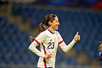 LE HAVRE, FRANCE - APRIL 13: Christen Press #23 of the United States with a thumbs up during a game between France and USWNT at Stade Oceane on April 13, 2021 in Le Havre, France.