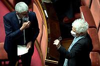 The senators Pier Ferdinando Casini and  Liliana Segre during the Italian Premier's  information at the Senate about the government crisis..<br /> Rome(Italy), January 19th 2021<br /> Photo Pool Alessandra Benedetti/Insidefoto