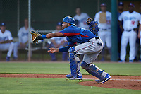 AZL Rangers catcher Reynaldo Pichardo (6) during an Arizona League game against the AZL Dodgers Mota at Camelback Ranch on June 18, 2019 in Glendale, Arizona. AZL Dodgers Mota defeated AZL Rangers 13-4. (Zachary Lucy/Four Seam Images)