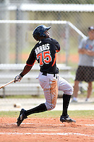 Miami Marlins outfielder Alonzo Harris (75) during a minor league spring training game against the New York Mets on March 28, 2014 at the Roger Dean Stadium Complex in Jupiter, Florida.  (Mike Janes/Four Seam Images)